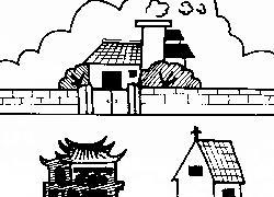 屋前有庙宇