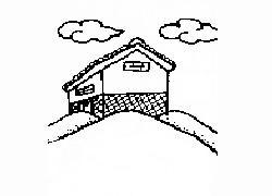 屋在山脊上